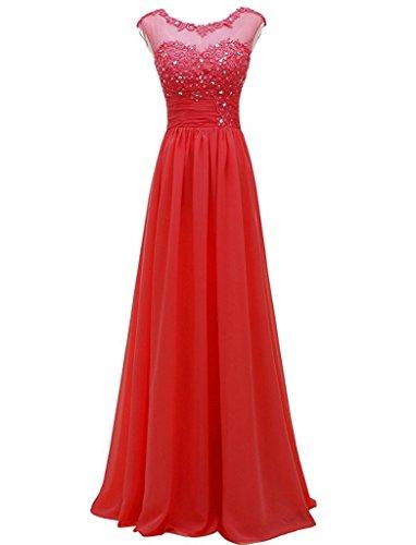Appliques Abendkleider Rot Elegant Lange Cocktailkleider Brautjungfernkleider Damen Chiffon Carnivalprom nSUqxYRx