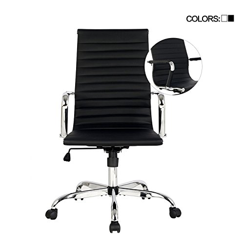 Elecwish,Adjustable Office Executive Swivel Chair, High Back Padded, Tall Ribbed, Pu Leather, Wheels Arm Rest Computer, Chrome Base, Home Furniture, Conference Room Reception (Black) (Back Adjustable Leather)