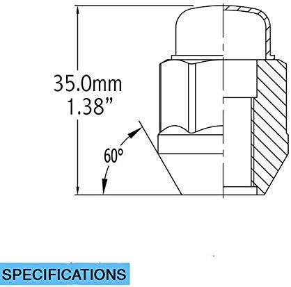 Cone Seat 19mm Hex Wheel Lug Nut Dual Coating 20 Black 12x1.5 Closed End Bulge Acorn Lug Nuts