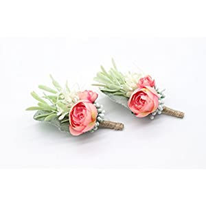 Yokoke Artificial Succulent Boutonniere Bouquet Corsage Wristlet Vintage Silk Fake Pink Flowers flocked Plants For Groom Bride Wedding Decor 2 Pcs 3