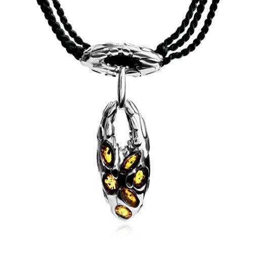 Ambre-Collier Femme-Argent 925/1000à pendentif corde 43cm