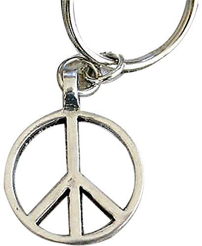 """Unique & Custom 1 Single Medium Size """"Split"""" Circle Keychain Ring Made of Pewter w/ Metallic 80s Hippie Peace & Love Sign Symbol Style Charm Made of Metal {Silver Color}"""