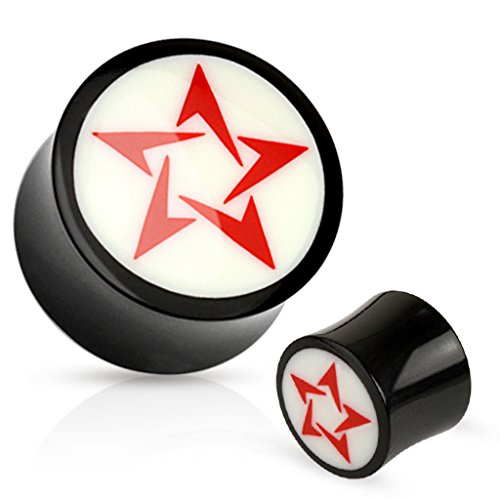 Pair Of Red Tribal Star White Bone Inlay Organic Buffalo Horn Saddle Fit Plugs ()