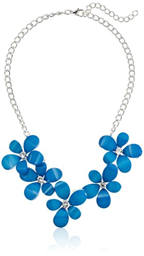 """Royal Blue Cabochon Floral with Crystal Accents Statement Necklace, 16.5"""" + 3"""" Extender"""