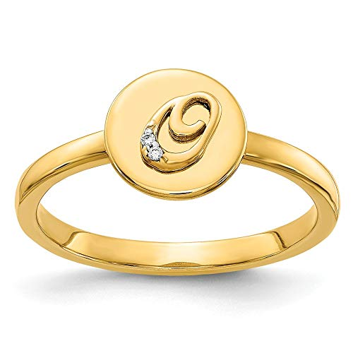 14K Yellow Gold Diamond Initial O Ring (0.006Cttw) ()
