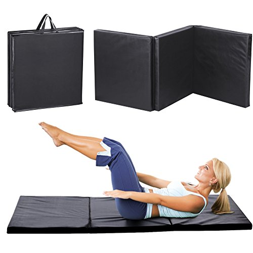 "Black New 24""x72""x2"" Tri-Fold Exercise Folding Gymnastics Fitness Mat Panel Health & Fitness by SurSector"