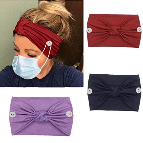 Bohend Boho Button Headband Wide Stretchy Solid Tied Knotted Headwear Sport Athletic YogaGym Hair Accessories for Women and Nurses (F)