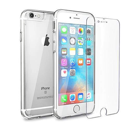 - FlexGear Clear iPhone 6s case [Aura X] Hard PC Back TPU Bumper + Tempered Glass Screen Protector, Compatible with iPhone 6/6s (Clear)