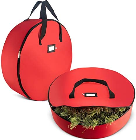 "2-Pack Christmas Wreath Storage Bag 36"" - Artificial Wreaths, Durable Handles, Dual Zipper & Card Slot, Holiday Xmas Tear-Resistant Storage Container 420D Oxford Fabric"