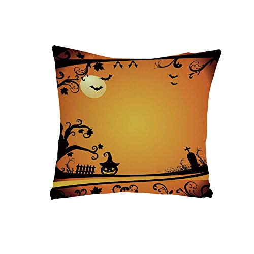 YOLIYANA Vintage Halloween Comfortable Pillow,Halloween Themed Image Eerie Atmosphere Gravestone Evil Pumpkin Moon Decorative for livingroom,One Size