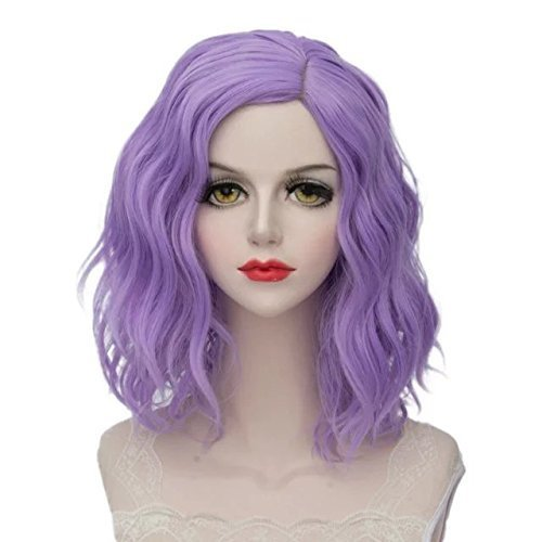 Halloween Wigs - TOPMAX Lolita Multi-Color Short Wavy Halloween Cosplay Wigs and Cap, Purple Beach