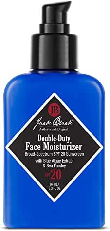 Jack Black - Double-Duty Face Moisturizer broad Spectrum SPF 20 sunscreen with Blue Algae extract and Sea Parsley 3.3 Fl Oz