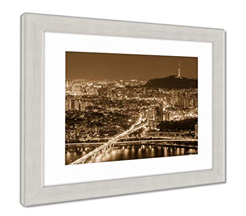 Ashley Framed Prints Seoul City at Night, Wall Art Home Decoration, Sepia, 34x40 (Frame Size), Silver Frame, AG5888182