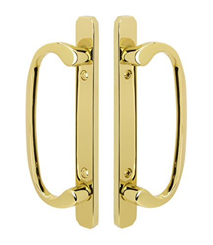 Embassy Solid Brass Full Dummy Handle Set for Sliding Glass and Patio Doors in Lifetime Polished Brass (PVD), 1-3/4 Door Thickness (Full Inactive Set)