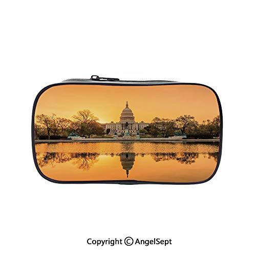 Two Big Pockets for Executive Fountain Pen,Washington DC American Capital City White House Above The Lake Landscape Apricot Ginger 5.1inches,Multi-Functional 72 Slots Colored Pencil Case]()