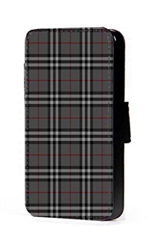 Tartan écossais gris Gris tissage Motif Portefeuille à rabat en imitation cuir pour téléphone portable Coque pour iPhone 45C 6S Samsung S6S5S4S3Mini, Cuir synthétique, gris, Samsung Galaxy S6 Ed