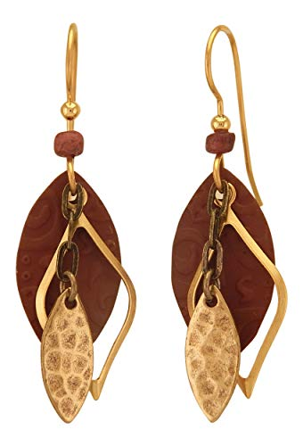Silver Forest Brown and Gold Tone Football Shapes, Open Curved Diamond, Layered, Drop Style Earrings