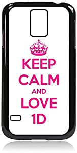 Keep Calm and Love 1D - Hard Black Plastic Snap - On Case with Soft Black Rubber LiningGalaxy s5 i9600 - Great Quality!