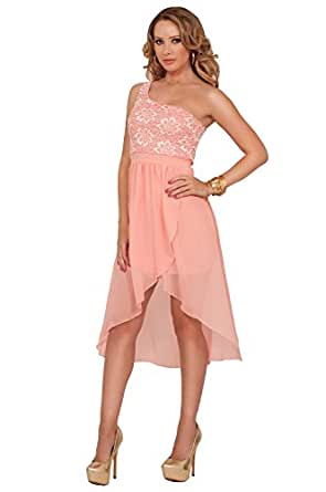 One Shoulder Greek Goddess Inspired Lace High Low Evening Party Cocktail Dress