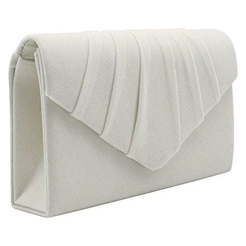Wocharm Brand New Luxury Womens Ladies Pleated Suede velvet Clutch Bag Handbag Bridal Evening Prom Party Ivory