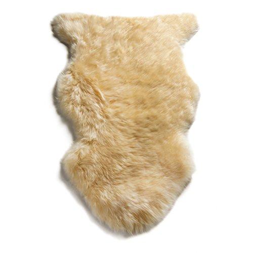 WaySoft Genuine New Zealand Sheepskin Rug, Luxuxry Fur Rug for Bedroom, Fluffy Rug for Living Room (2ft x 3ft, Cream)