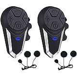 Motorcycle Helmet Intercom, Fodsports BT-S3 1000m Motorcycle Bluetooth Headset Intercom Wireless Interphone to 2-3 Riders (Waterproof/Handsfree/Stereo Music/FM Radio/GPS/MP3/2 Pack Soft Microphone)