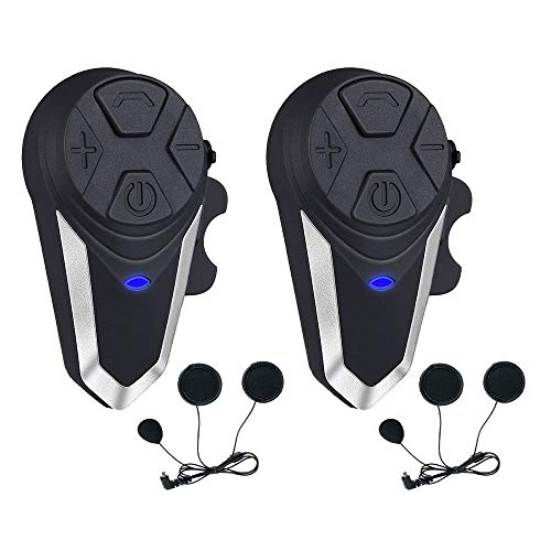 Motorcycle Helmet Intercom, Fodsports BT-S3 1000m Motorcycle Bluetooth Headset Intercom Wireless Interphone to 2-3 Riders (Waterproof/Handsfree/Stereo Music/FM Radio/GPS/MP3/2 Pack Soft - Helmet Intercom