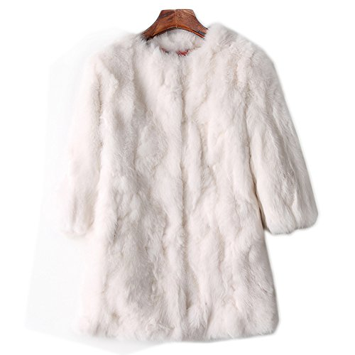 SPRINGWIND 100% Real Women Rabbit Fur Coat Overcoat Garment Long Jacket Coat