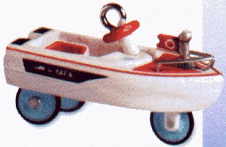Retired Hallmark Christmas Ornaments (Hallmark Keepsake Ornament Kiddie Car Classics 1968 Murray Jolly Roger Flagship 6th in Series Miniature QXM5944 (2000))