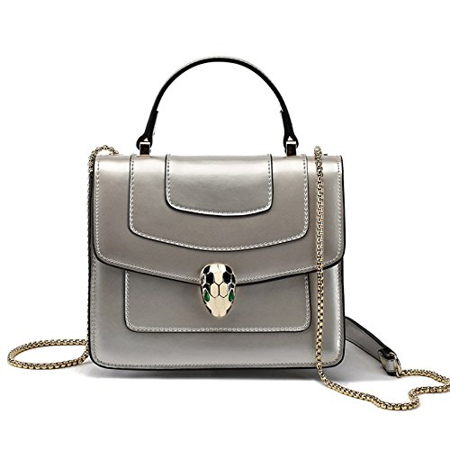 Qqwe Pattern Snakehead Patent Leather Ladies Shoulder Bag Messenger Bag Buckle Chain Bag Tote Gray