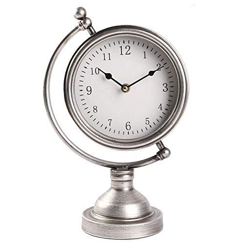 (MODE HOME Sliver Metal Tabletop Clock Globe Desk Clock on Stand Decorative Mantel Clock)