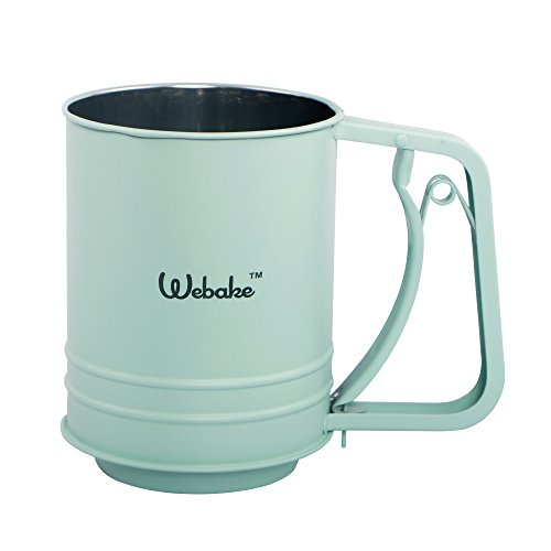 Webake Stainless Steel Flour Sifter Baking Supplies One-handed Small Kitchen Sifter Kitchen Sifter Cocoa Powder Sieve Baking Supplies(Green Large) by Webake
