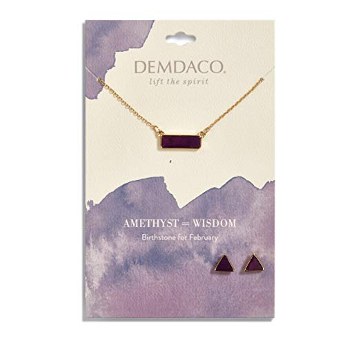 (DEMDACO February Amethyst Women's Natural Stone Gold-Plated Birthstone Necklace & Earrings)