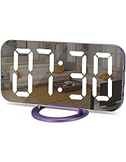 Spegel väckarklocka, digital väckarklocka stor 6,5 tums LED-skärm med ljusavkännande dämpningsläge, justerbar ljusstyrka, 2 USB-laddningsportar stor snooze knapp, för sovrum vardagsrum, heminredning