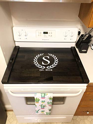 Rustic Stove Top Cover, Wooden Tray For Stove, Monogram Stove Cover, Stove Tray, Decorative Tray by The Appalachian Artisans (Image #6)