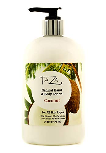 Premium Taza Natural Coconut Hand & Body Lotion, 16 fl oz (473 ml) ♦ Leaves Your Skin Smooth, Soft & Glowing ♦ Contains: Sunflower Seed Oil, Shea Butter, Coconut Oil, Sweet Almond Oil Review