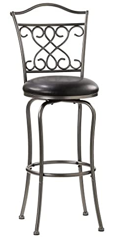 Hillsdale Wayland 24-Inch Swivel Counter Stool, Pewter with Black Vinyl - Montgomery Swivel