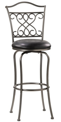 Bar Stool Black Hillsdale Furniture (Hillsdale Wayland 30-Inch Swivel Barstool, Pewter with Black Vinyl)