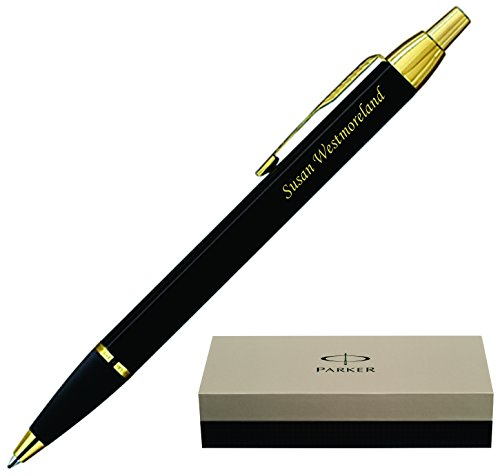 Engraved / Personalized Parker IM Black Gold Trim Ballpoint Gift Pen. Customized by Dayspring Pens, Fast 1 Business Day Engraving Time