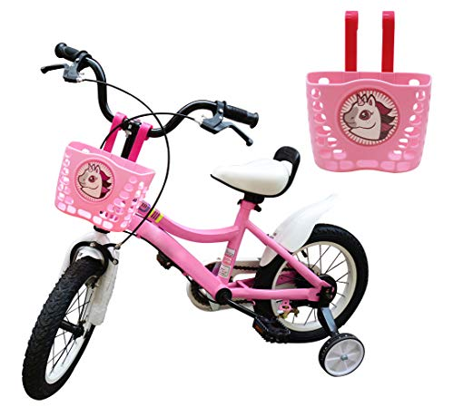 CHILDHOOD Childrens Bicycle Basket, Pink Bike Basket for Girls Kids (Unicorn)