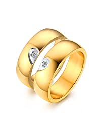 GINBL 6MM Gold Plated Men Heart Shape Titanium Couple Wedding Rings Women Cubic Zirconia Promise Bands