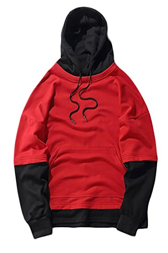 today UK Pieces Hop Hooded Sweatshirt 2 Hip Color Splice Men Red Fake ZrrdwA