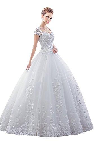 Sisjuly Women's Lace Sweetheart Short Sleeve Ball Gown Wedding Dress 2 White ()
