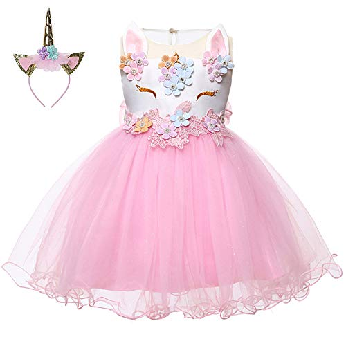 LZH Baby Girl Unicorn Flower Dress Bowknot Lace Birthday Party Baptism Gown (Flower Play Dress)