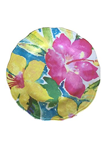 Melamine Small Appetizer Plates by Nicole Miller - Set of 6 - Floral Hibiscus