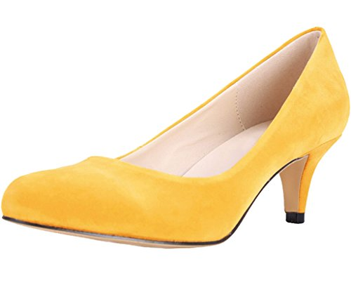 Mid Heel Dress yellow velveteen Pointed Women's Closed Pumps Kitten On Toe Slip wqY00P8xv