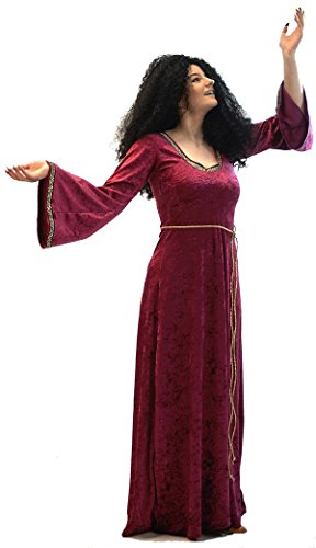 Halloween-World Book Day-Stage-Dance Tangled Mother GOTHEL Dress & Wig Child's Fancy Dress Costume - All Ages (Teen) Burgandy]()