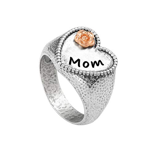 PZ Paz Creations 925 Sterling Silver MOM Heart Shaped Signet Ring (Rose Gold, -