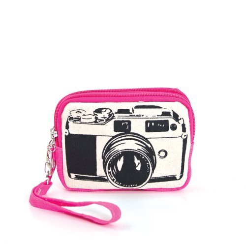 Canvas Mini Wallet Wristlet Bag with Film Camera Image in Fuchsia Bag Fashion Camera Wallet