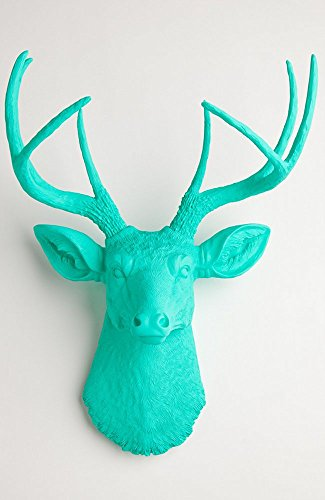 Deer Head Trophy - Faux Deer Head Wall Mount in Turquoise- The Penelope By White Faux Taxidermy | Resin Stag Animal Head Wall Mount with Large Antlers | Hanging Wall Sculpture Home Decor